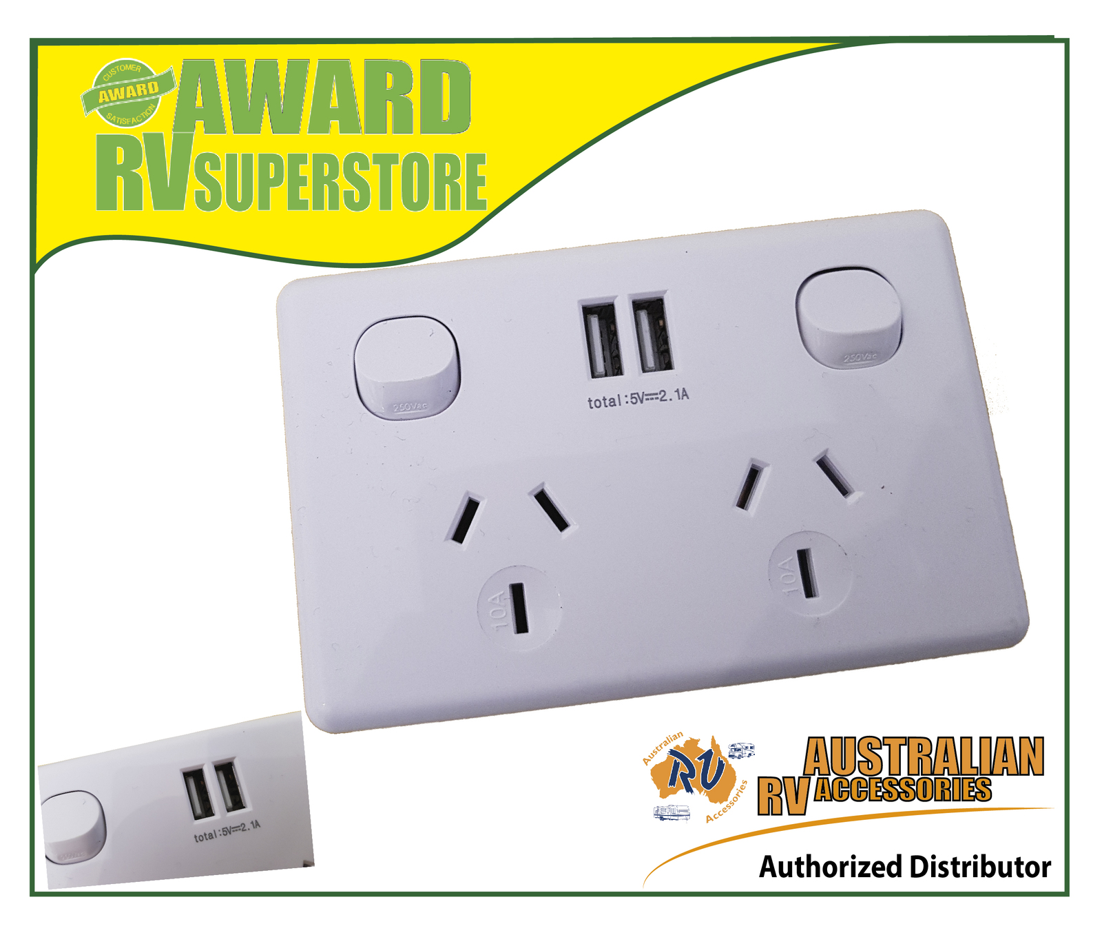 Smart accessory Double Powerpoint with double USB Port Power GPO outlet Point