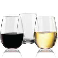 CRYSTAL CLEAR TRITAN STEMLESS RED WINE GLASSES 20 OZ SET OF 4