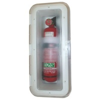FIRE EXTINGUISHER BOX WHITE WITH CLEAR LID