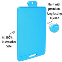 COLLAPSIBLE SPACE SAVING 0464 SILICONE CHOPPING CUTTING BOARD BLUE