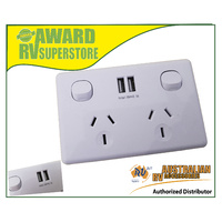 SINGLE POLE TWIN POWER POINT WITH TWIN USB 240V HOME