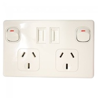 DOUBLE POLE DOUBLE USB POWER POINT WHITE 10AMP