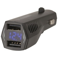 Powertech Dual USB 4.8A Smart IC Car Charger with LCD Voltage Display