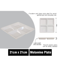 WHITE MELAMINE SERVING PLATE 4 SECTION