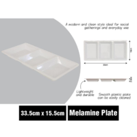 Plate Melamine 3 Section Divided 33.5cm x 15.5cm