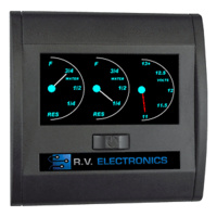 BLACK DOUBLE WATER LEVEL INDICATOR WITH VOLTMETER LCD0202