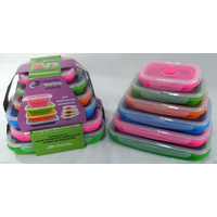 Set of 6 Silicone Rectangle Storage Containers Caravan